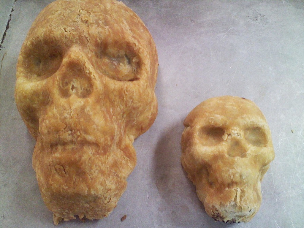 Big Skull Pies serve 5-6; Small Skull Pies are single serving size!
